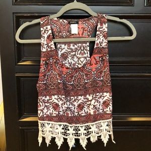 boho crop top tank - size small